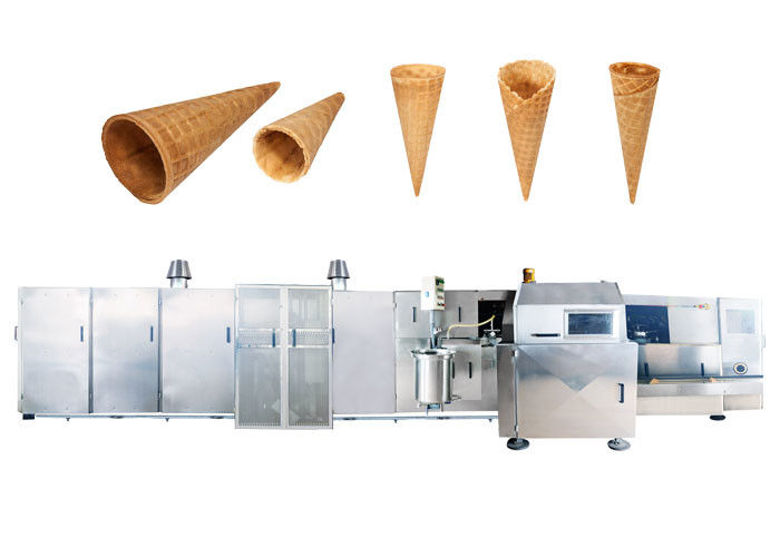 CE Certified Automatic Sugar Cone Production Line With Fast Heating Up Oven , 63 Baking Plates