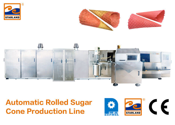 Durable Sugar Cone Production Line / Industrial Ice Cream Maker 7000L*2400W*1800H