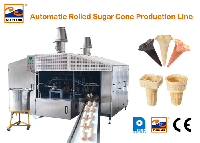 Eco Friendly 380V Wafer Cone Production Line , Industrial Waffle Maker 4 - 5 LPG Consumption / Hour