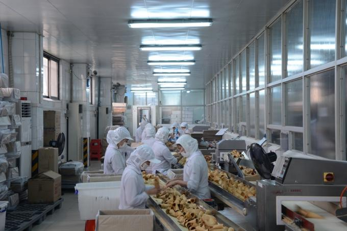 Large Roller Sugar Cone Production Line For Waffle Basket 5 - 6 Gas Consumption / Hour